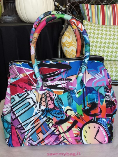 SAVE MY BAG - GRAFFITI POP ART Polyurethane Satchel in Multi-Colored Image 2
