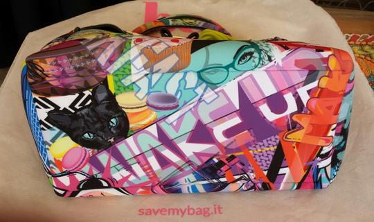 SAVE MY BAG - GRAFFITI POP ART Polyurethane Satchel in Multi-Colored Image 5