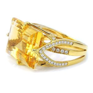 SWD Citrine and Fashion Diamond Ring