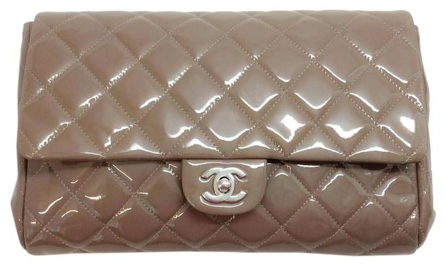 Item - Clutch With Chain Grey Patent Leather Shoulder Bag