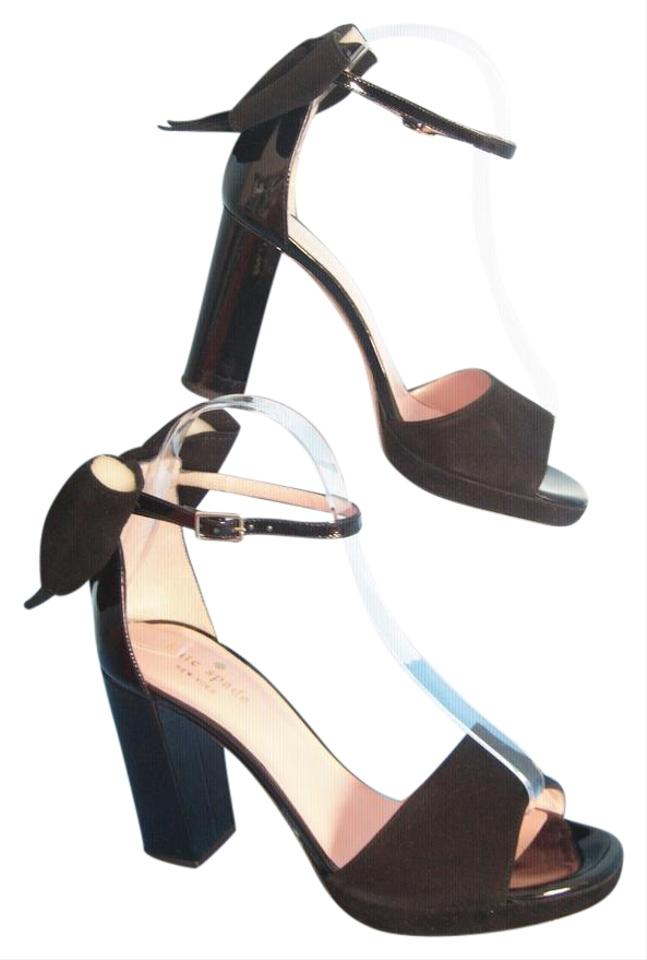 c57e2c7a2c9 Kate Spade Black New York Halle Suede Patent Leather Chunky Heels ...