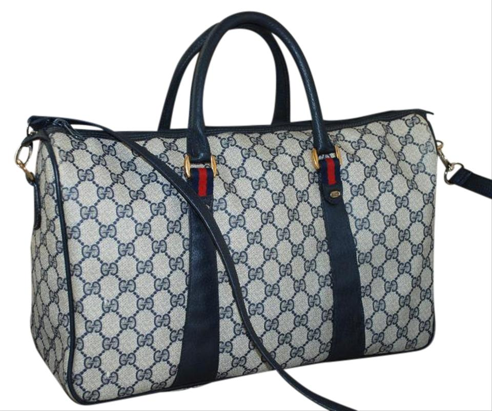 d738c0a47d7 Gucci Accessory Collection Made In Italy Vintage Leather Gg Monogram Blue  Travel Bag Image 0 ...