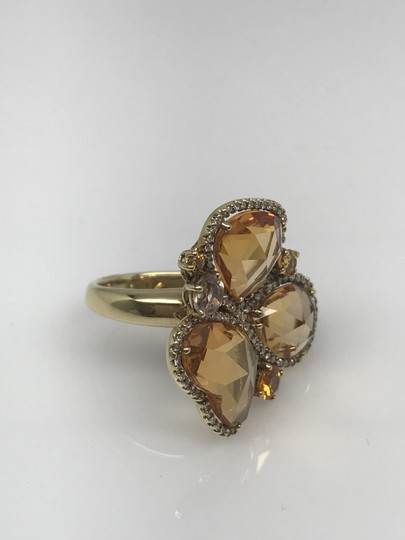 SWD HEART AND PEAR YELLOW CITRINE, SAPPHIRE AND AQUAMARINE DIAMOND RING Image 3