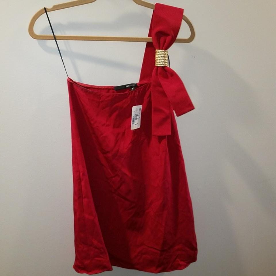 Jay Godfrey Red Gold New Holiday Short Cocktail Dress Size 6 (S ...
