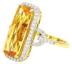 SWD TOPAZ AND DIAMOND FASHION RING IN 18K YELLOW GOLD
