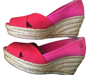 Tory Burch Espadrille Woman's 9 Red/Pink Wedges