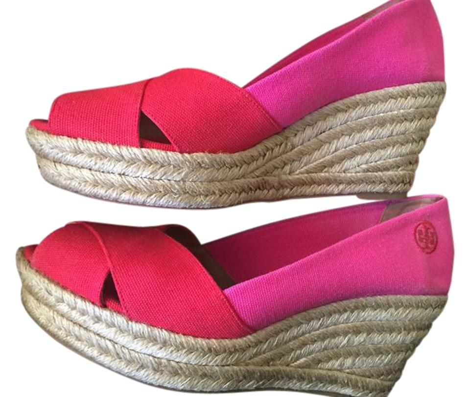 85e0c6d9014 Tory Burch Red/Pink Filipa Espadrille Red/Pink Wedges Size US 9 Regular (M,  B) 35% off retail