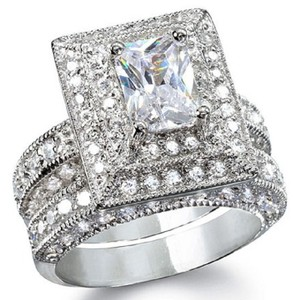 Solid .925 Sterling Silver Big and Bold * 2.5ct Antique Style Engagement-bridal Set * 8 * Engagement Ring