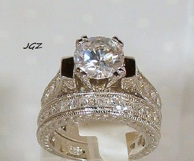 Item - .925 Sterling Silver Box 2.5 Ct Round Brilliant Cut Engagement Ring *sz 7*free Gift * Women's Wedding Band Set