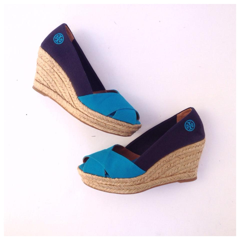 6f36bcbf4 Tory Burch Navy/Blue Filipa Colorblock Canvas Espadrilles Wedges ...