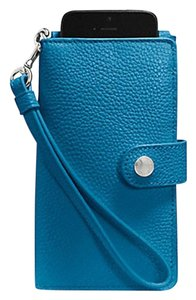 Coach Phone Clutch Wallet Wristlet in Pebble Leather F63653