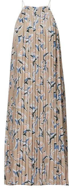 Item - Neutral/Multi Floral Pleated Mid-length Cocktail Dress Size 4 (S)