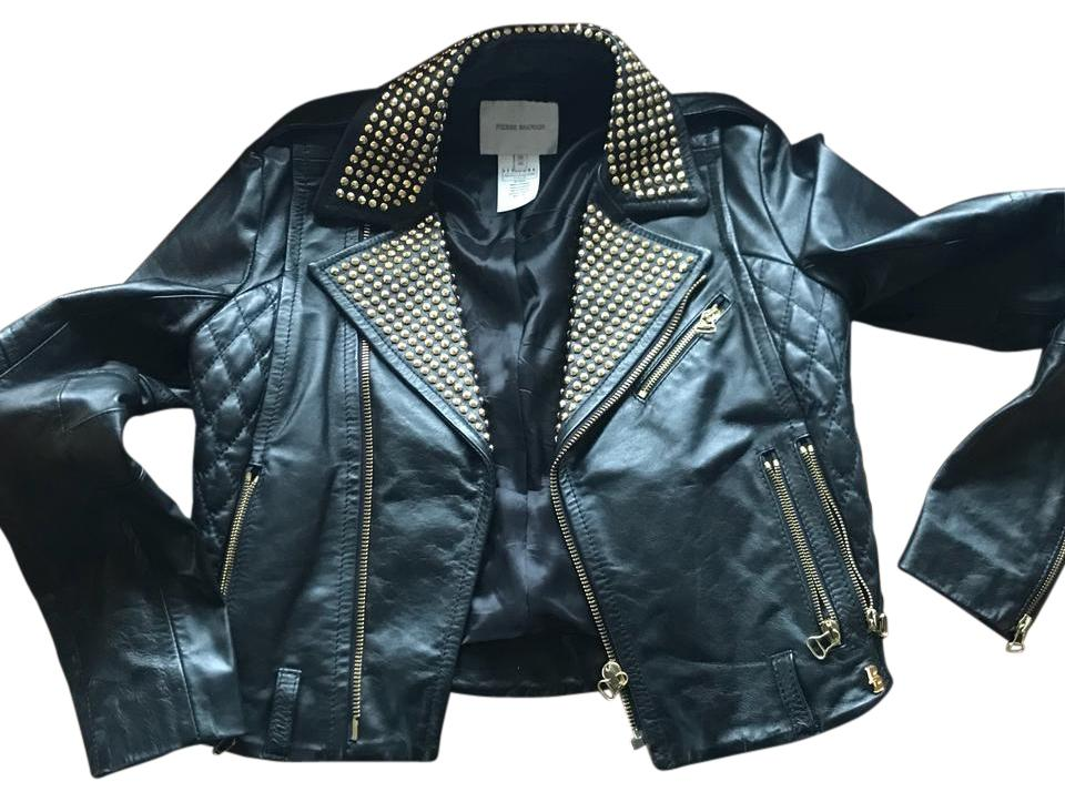 5773c7ce Balmain Black Gold Studded Leather Jacket Size 4 (S) - Tradesy