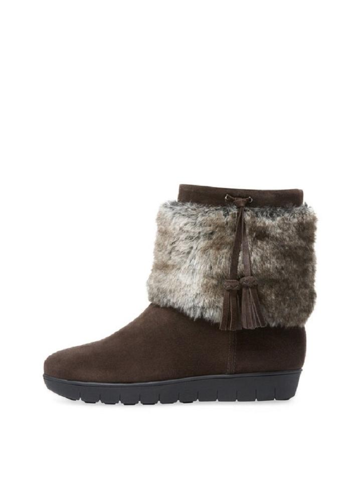 99b78929d Aquatalia Brown Suede Faux-fur Lined Boots Booties Size US 7.5 ...