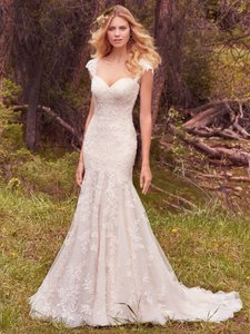 Maggie Sottero Ivory/Light Gold Lace Larissa Feminine Wedding Dress Size 12 (L)