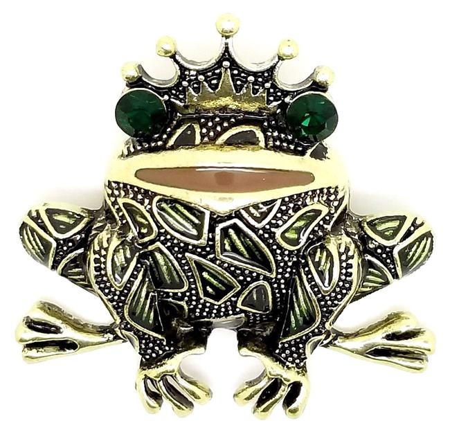 Item - Green King Toad Frog Prince Antique Bronze Crystal Eyes Enamel Pin