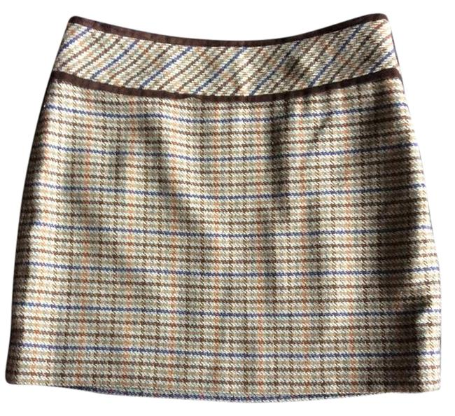 Item - Olive Green Brown Light Blue New Lined Pencil Bro Skirt Size 4 (S, 27)