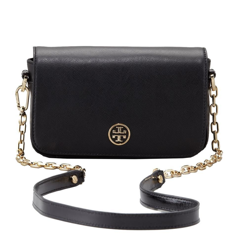 570a0a5c0543a Tory Burch Robinson Chain Mini Black Leather Cross Body Bag - Tradesy