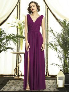 Wildberry Chiffon Style#2894 -full Length V-neck Lux Draped Detail Feminine Bridesmaid/Mob Dress Size 14 (L)