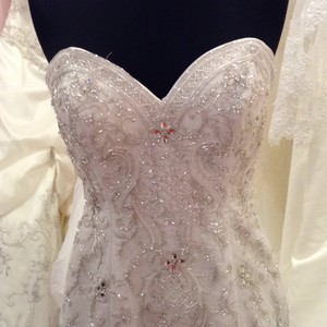 Alfred Angelo White Satin and Glitter Tulle 249 Ariel Formal Wedding Dress Size 14 (L)
