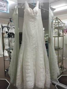 La Sposa Off White Lace Lael Modern Wedding Dress Size 10 (M)