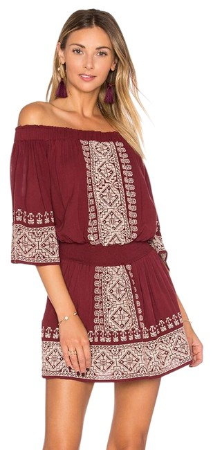 Item - Red Fiona Embroidered Off-the-shoulder Short Casual Dress Size 0 (XS)