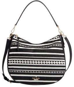 Kate Spade Shoulder Striped Two Way Embroidered Hobo Bag