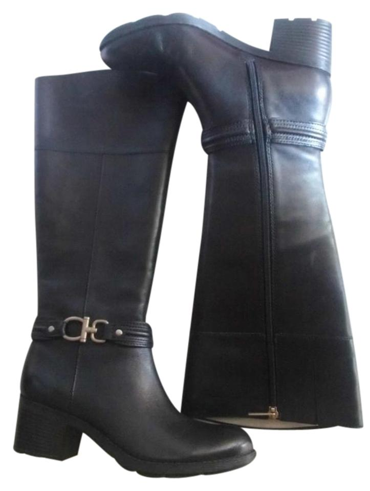 164ecd37fdc9 Bandolino Black Leather Zip Riding Fashion Boots Booties Size US 8 ...