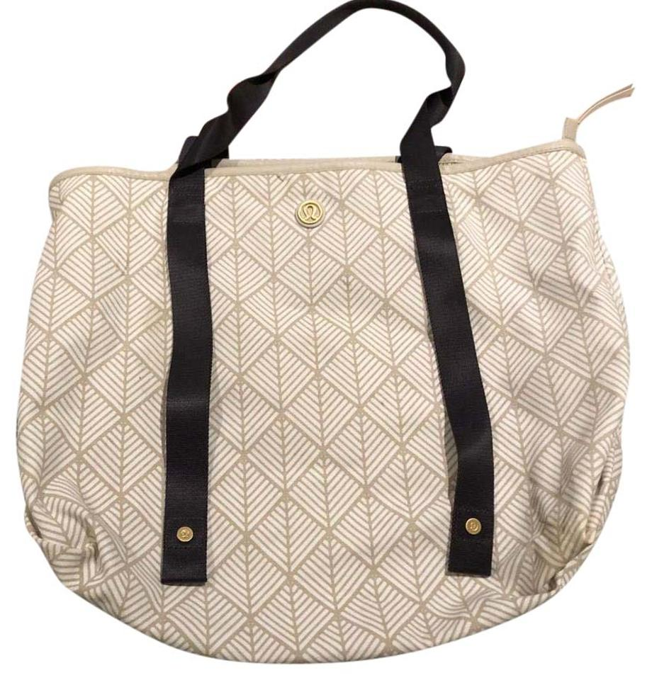 Lululemon White And Tan Cotton Blend Weekend/Travel Bag
