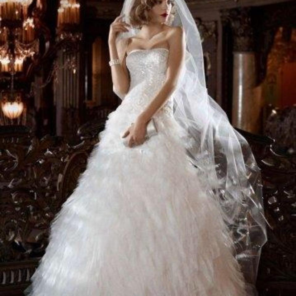 David\'s Bridal White Galina Signature Feminine Wedding Dress Size 2 ...