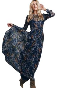 Blue Floral Print Maxi Dress by Free People