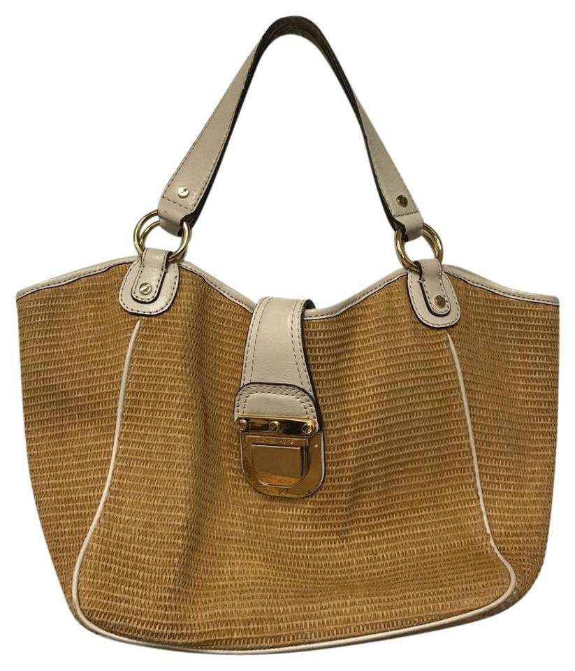 Michael Kors Straw Summer Designer Tote In Tan
