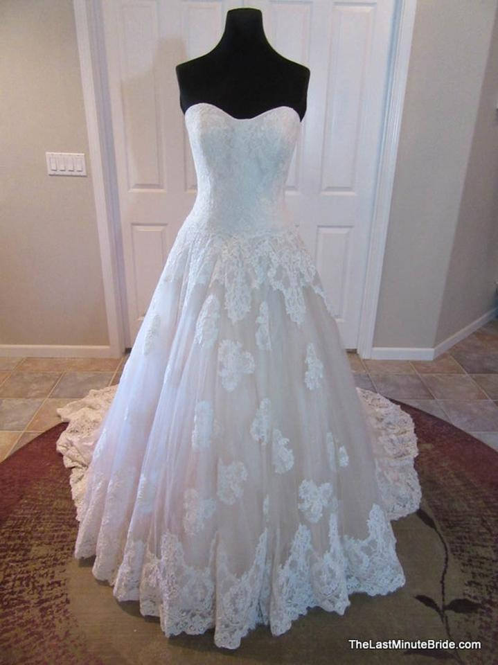Allure Bridals Baby Pink/Ivory Lace 9121 Feminine Wedding Dress Size ...