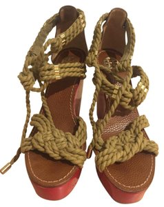 Tory Burch Rope Tie Platform Red Wedges