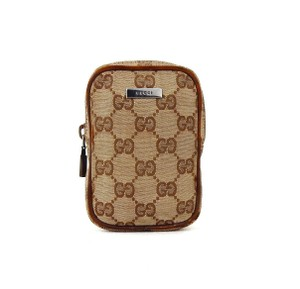 Gucci GG Logo Canvas Leather Storage Case Pouch
