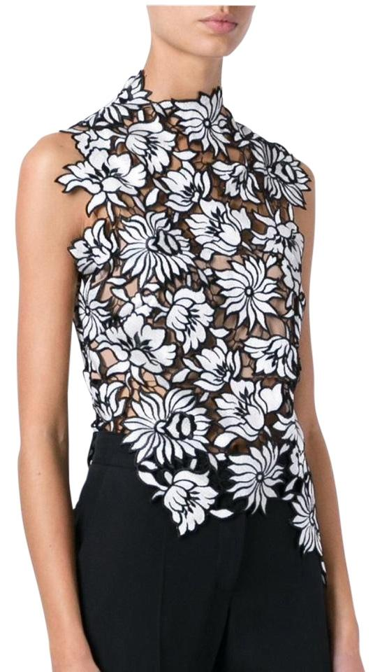 21014d2bb40a4a self-portrait Lily Guipure Lace Black and White Top - Tradesy