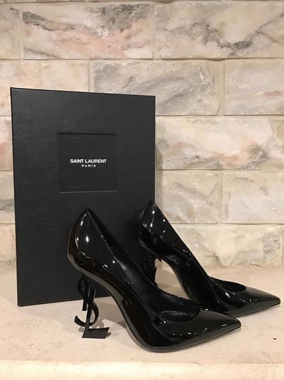 Saint Laurent Opium Opyum Stiletto Patent Logo black Pumps