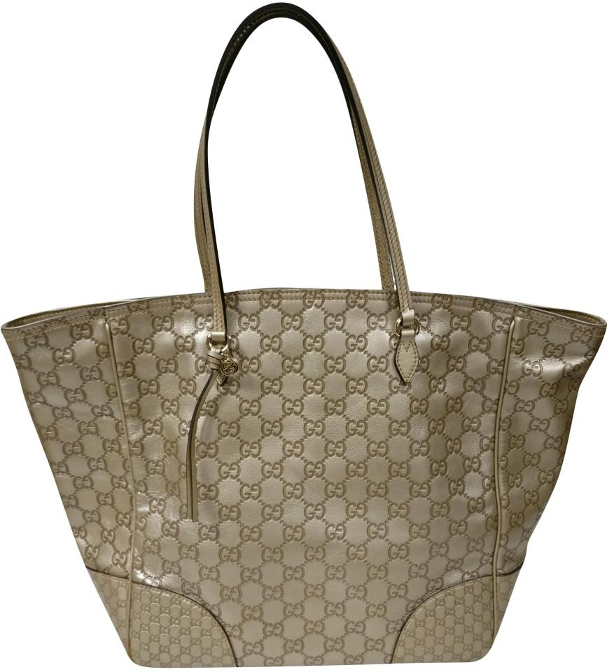 403166613ad68b Gucci Bag Bree Gold Guccissima Gg Monogram Beige Leather Tote - Tradesy