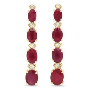 Other 7.30ct Natural Red Ruby and Diamond 14K Solid Yellow Gold Earrings