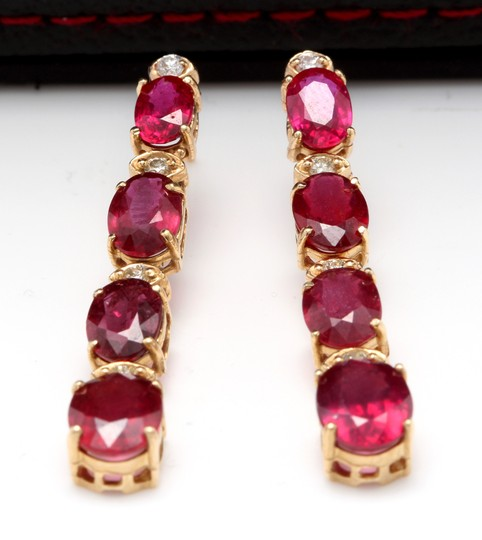 Other 7.30ct Natural Red Ruby and Diamond 14K Solid Yellow Gold Earrings Image 1