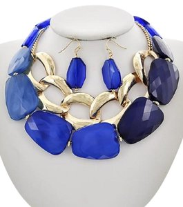 UNBRANDED Blue Acrylic Statement Necklace & Earring Set