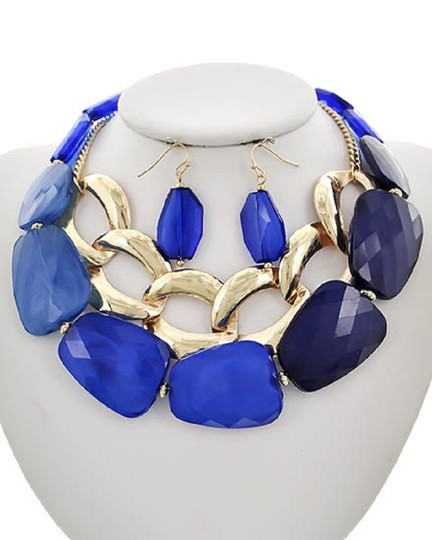 UNBRANDED Blue Acrylic Statement Necklace & Earring Set Image 1