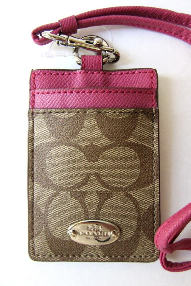 2c31e23c5ca2 Coach Coach Signature PVC Lanyard ID Holder Card Case F63274 Khaki   Pink  with Dust Bag ...