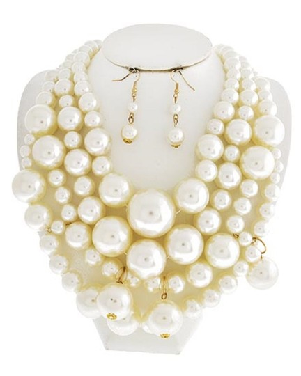 UNBRANDED Cream Synthetic Pearl Multi Row Necklace & Earring Set Image 1