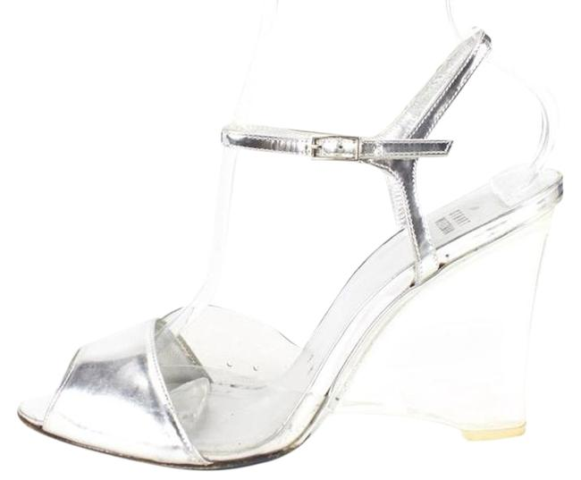 Item - Silver Lucite Leather Made In Spain Wedges Size US 8 Regular (M, B)