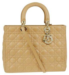 a0ca133020b Added to Shopping Bag. Dior Tote in Beige. Dior Lady Cannage Quilted Large  2180105 Beige Leather Tote