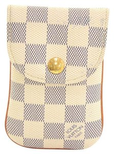 Louis Vuitton Louis Vuitton Etui Telephone MM Damier Azur Canvas Phone Case LJ703