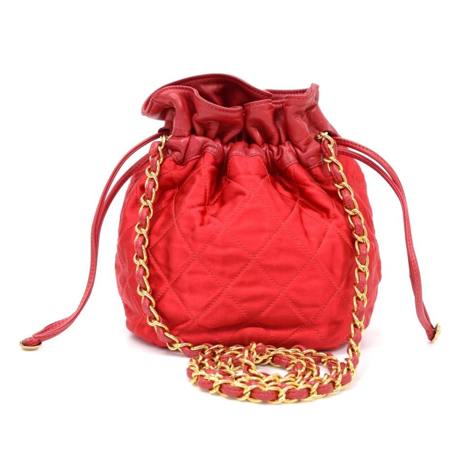 Chanel Vintage Quilted Ce810 Mini Bucket Red Satin Shoulder Bag ...