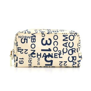 Chanel Chanel White Canvas x Navy Graffiti Vanity Cosmetic Case Pouch CE758