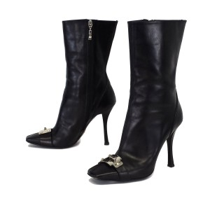 Cesare Paciotti Leather Mid Calf Black Boots